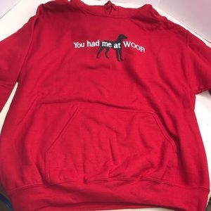 Red Black Women's Dog Hoodie Sweatshirt Large Woof